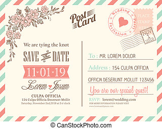 Vintage postcard background vector template for wedding...