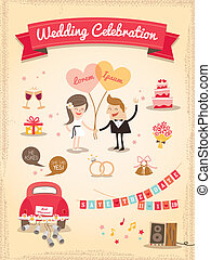 Set of Wedding cartoon design elements vector
