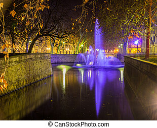 Jardins de la Fontaine in Nimes at night - France,...