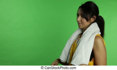 Sport woman isolated green screen with canadian flag