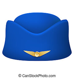 Stewardess hat of air hostess uniform. Isolated on white...