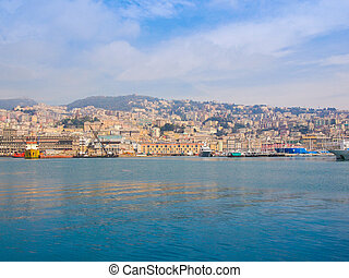 View of Genoa Italy from the sea - View of the city of Genoa...