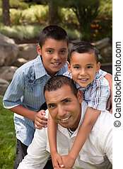 Father and Sons in the Park - Father and Sons Portrait in...