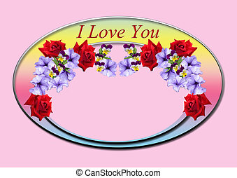 Oval frame with red roses and peoni