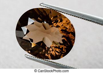 Smoky quartz gemstone - Natural orange brown smoky quartz as...