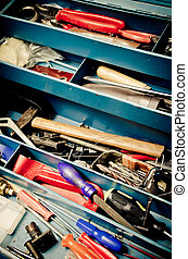 tool box - a lot of old instruments in tool box