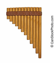 Pan flute or pipe - 3D render - Pan flute or pipe isolated...