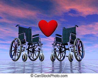 Handicapped persons love - 3D render - Red heart between two...