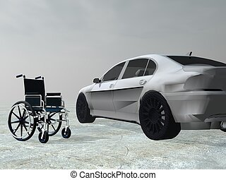 Adapted car for handicapped person - 3D render - Wheelchair...