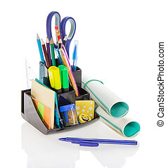 Office supply, scissors and exercise book - Office supply,...