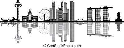 singapore skyline with merlion and airport in black and...