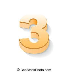 3d shiny golden number 3