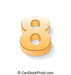 3d shiny golden number 8