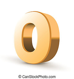 3d golden letter O isolated white background