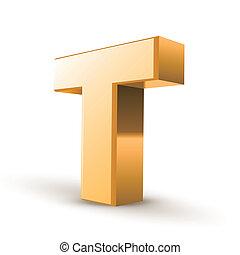 3d golden letter T