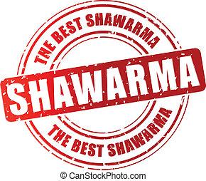 Vector shawarma stamp - Vector illustration of shawarma red...