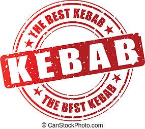 Vector kebab stamp - Vector illustration of best kebab red...