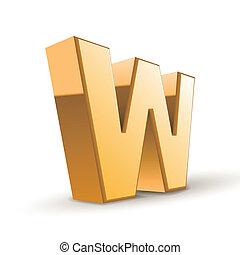 3d golden letter W