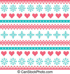 Winter, Christmas seamless print - Nordic folk art vector...