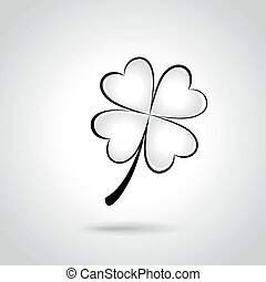 Vector clover illustration - Vector illustration of black...