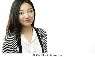 asian girl isolated on white smiling with vote sign