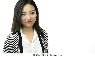 asian girl isolated on white smiling with thanks sign