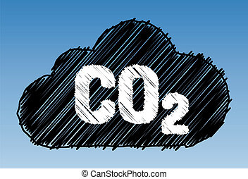 CO2 cloud pen style - CO2 in cloud on sky background - pen...