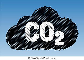 CO2 cloud pen style - CO2 in cloud on sky background - pen...