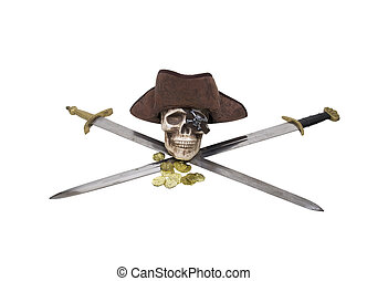 Crossed swords with pirate skull and booty - Pirate skull...