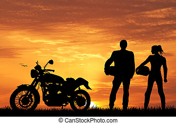 pair of motorcyclists - illustration of motorcyclists
