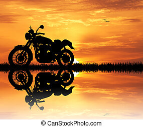 motorcycle at sunset - illustration of motorcycle at sunset