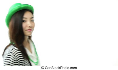 asian girl isolated on white ready for st patrick's day with disguise