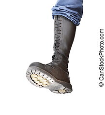 Stomping boot - A tall lace-up combat boot stomping with the...
