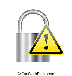 Silver padlock with yellow triangle sign