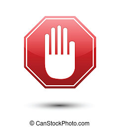 Hand on red sign No entry on white
