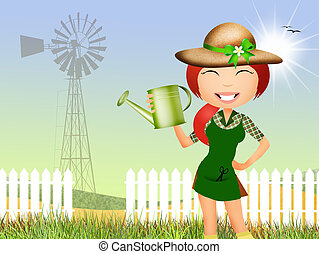 girl does gardening - illustration of girl does gardening
