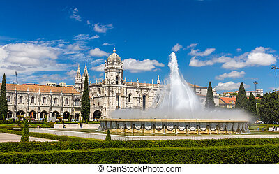 Fountain in front of Jeronimos Monastery in Lisbon, Portugal