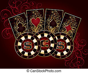 Casino card with poker elements