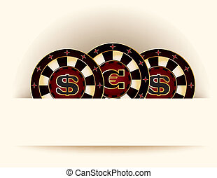 Casino background with poker chip