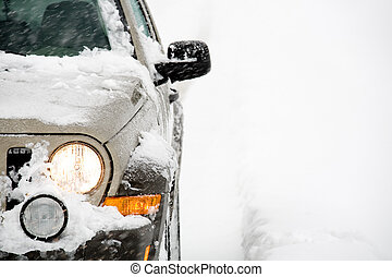 SUV in snow - SUV with four wheel drive in the snow, close...