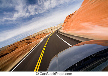 drive with motion blur, Bighorn Canyon, Wyoming