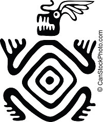 monster in native style, vector illustration - black monster...