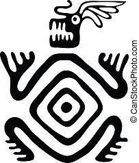 monster in native style, vector illustration - black monster...