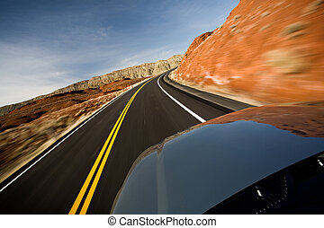 car driving on road with motion blur - car driving on road...