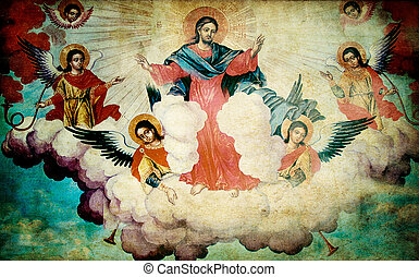 orthodox mural - old orthodox mural from 17 century in...