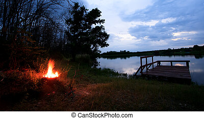campfire by the bulgarian lake