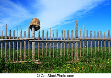 Wooden fence and a basket - Wooden fence texture on the site...