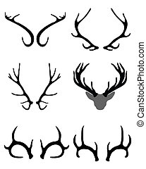 antlers of deer - Black silhouettes of antlers of deer ,...