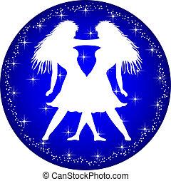 zodiaque, bouton, Gémeaux