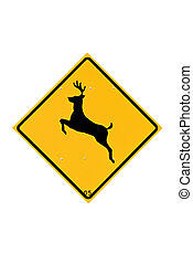 deer crossing sign isolated on white